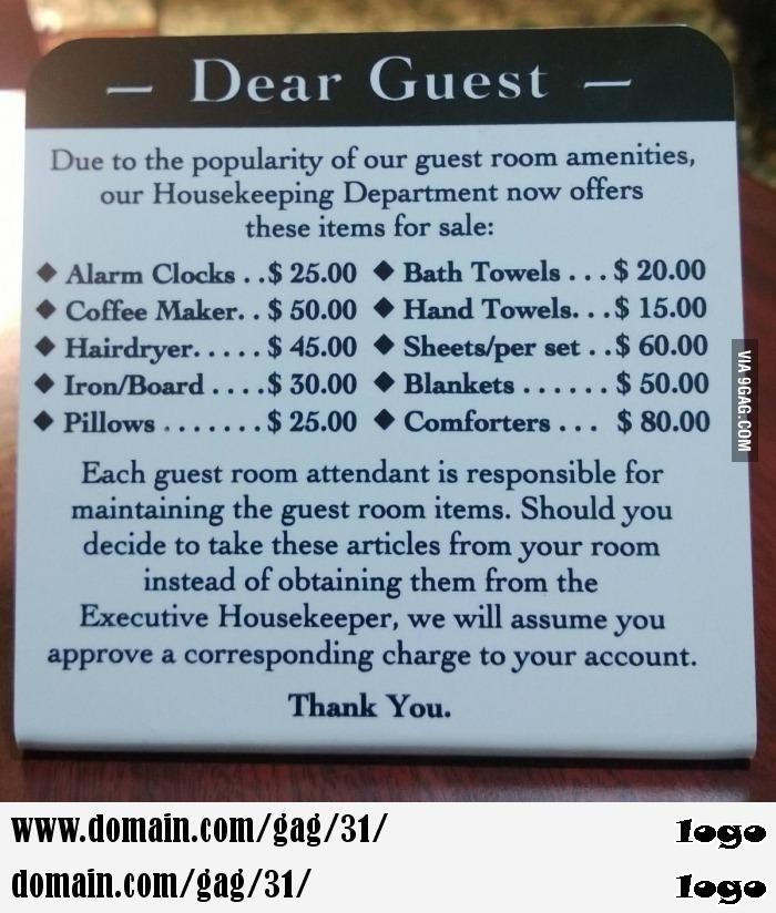 The most tactful way I have seen to deter hotel theft